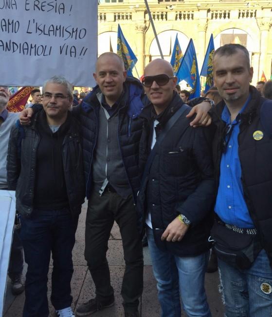 Fabrizio Ciarapica di Vince Civitanova a Bologna insieme a Pierpaolo Borroni (Fdi), Simone Garbuglia e Mauro Bedini (Lega Nord)