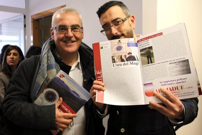 Il sindaco di Macerata Romano Carancini con Matteo Zallocco, direttore di Cronache Maceratesi