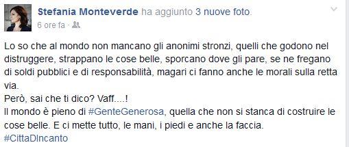 Il post pubblicato su facebook da Stefania Monteverde