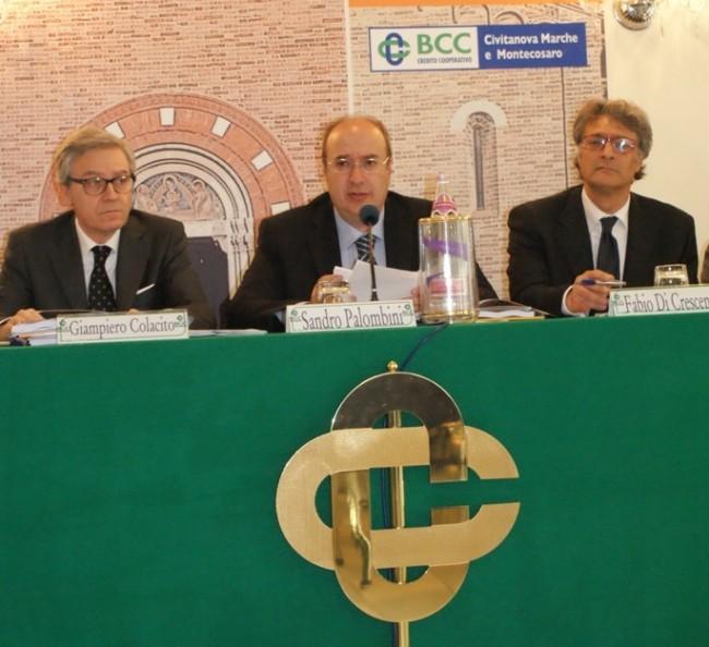 Giampiero Colacito, Sandro Palombini e Fabio Di Crescenzo, rispettivamente DG, Presidente e vice DG della bcc di Civitanova