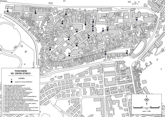 mappa posacenere centro storico
