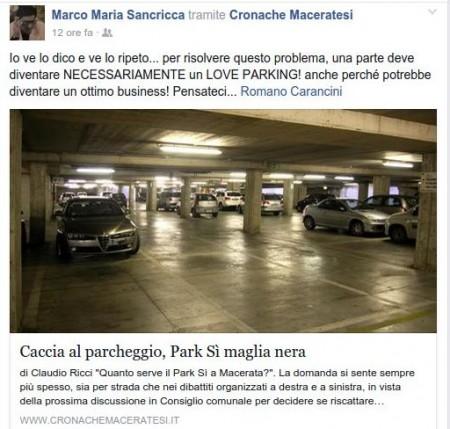 Il post su facebook di Marco Maria Sancricca