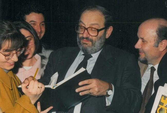 Umberto Eco con gli studenti dell'Univeristà di Macerata
