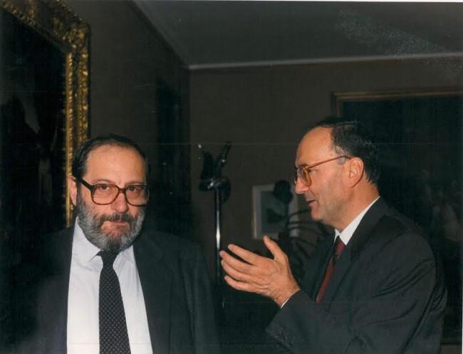 Umberto Eco nel 1991 con Giovanni Ferretti, allora rettore dell'Università di Macerata
