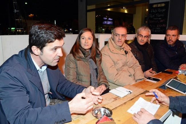 Fratelli d'Italia: da sinistra il sindaco di Potenza Picena Francesco Acquaroli, Elena Leonardi, Massimo Belvederesi e Pierpaolo Borroni