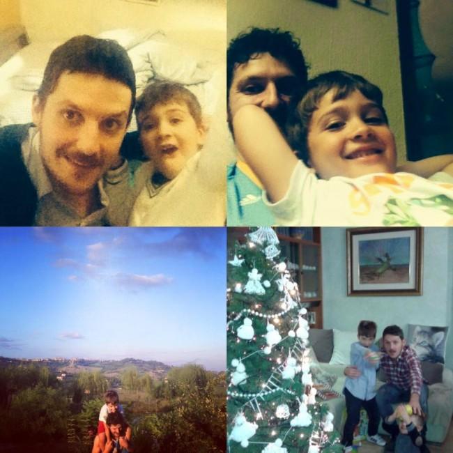 Collage di momenti sereni di Lorenzo Lucaroni con il figlio Giosuè