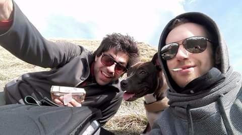 Matteo Mari (a destra) e Luca Castignani in una foto scattata durante l'escursione di ieri