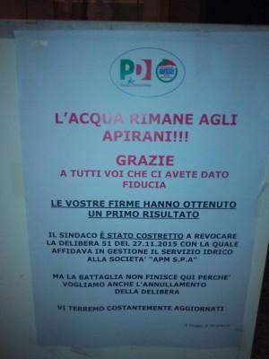 Il manifesto del comitato locale del Pd affisso in questi giorni ad Apiro