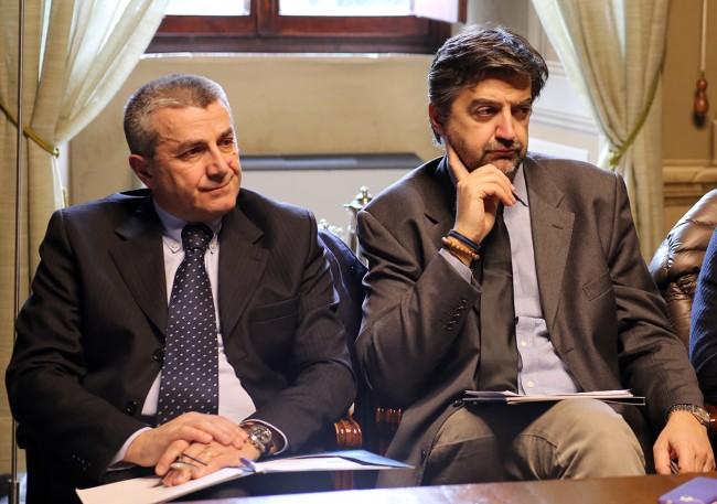 Mario Scagnetti sindaco San Ginesio_ Franco Ceregioli sindaco Sarnano_Foto LB