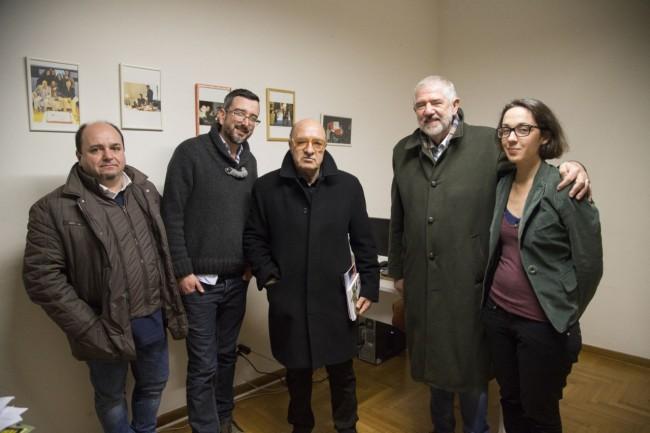 Da sinistra: Federico Ferretti (nipote di Dante), Matteo Zallocco (direttore CM), Dante Ferretti, Maurizio Verdenelli, Federica Nardi