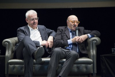 """Romano Carancini e Dante Ferretti durante la presentazione di """"Macerata che sarà"""" lo scorso aprile"""