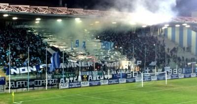 La tifoseria della Spal allo stadio Mazza di Ferrara