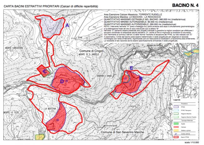 Il bacino estrattivo nel territorio di Cingoli nei documenti regionali
