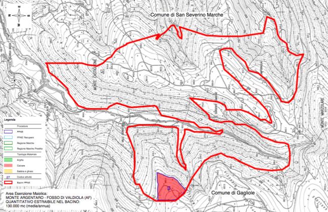 Il bacino estrattivo tra Gagliole e San Severino