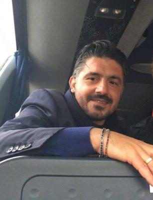 Rino Gattuso sul pullman a fine partita