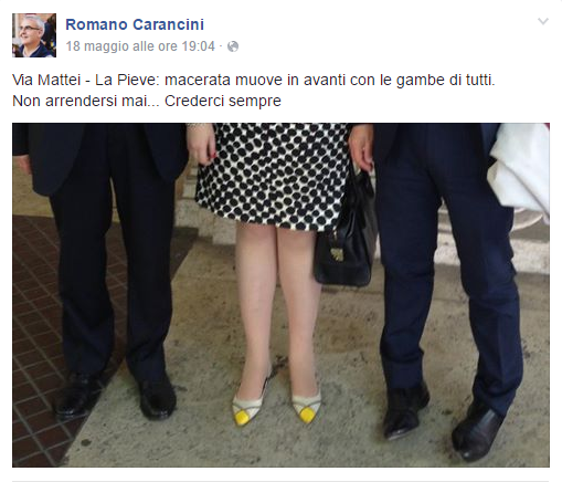 Il post di Romano Carancini. Nasce qui la moda del selfie ai piedi, anche detto feetfie, pielfie o autoscarpo