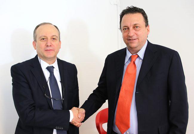 Stefano Montemarani e Francesco Acquaroli durante il faccia a faccia su Cm