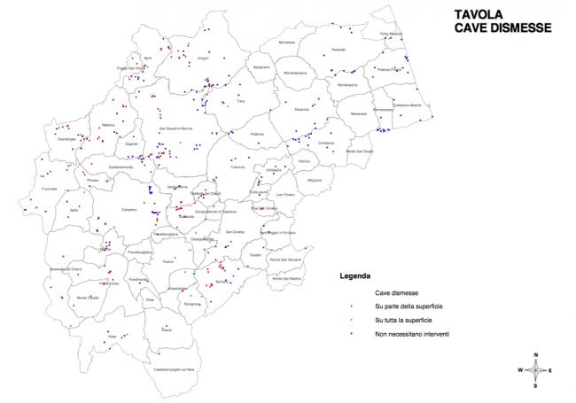 La mappa delle cave dismesse in provincia di Macerata