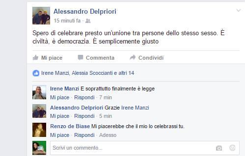 Il post su fb di Alessandro Del Priori