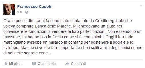 Il post di Francesco Casoli su Facebook