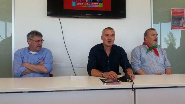 Da sinistra: Maurizio Landini, Daniel Taddei e Lorenzo Marconi