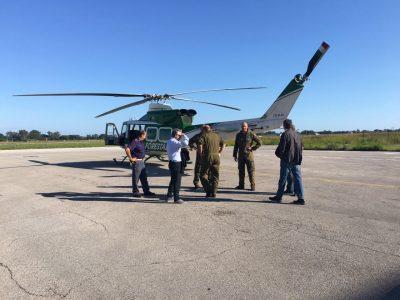 La partenza in elicottero del presidente Luca Ceriscioli e dell'assessore Angelo Sciapichetti