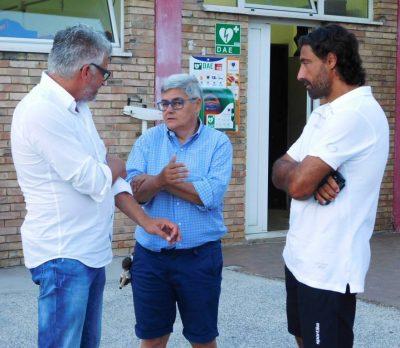 Maria Francesca Tardella a colloquio con il ds Gianluca Stambazzi e l'allenatore Federico Giunti