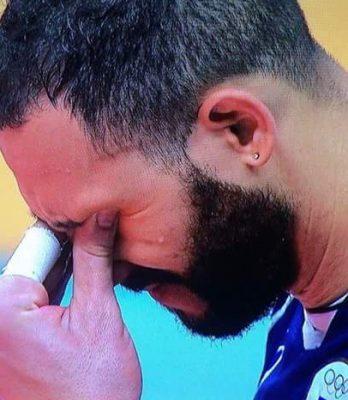 Osmany Juantorena in lacrime dopo la sconfitta nella finale olimpica
