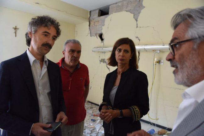 Laura Boldrini ad Amandola venerdì scorso (foto Federico De Marco)