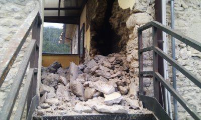 Il crollo alla casa di riposo di Castelsantangelo sul Nera