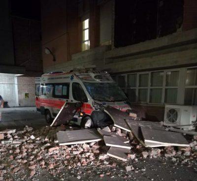 L'ospedale di Amandola dopo il terremoto