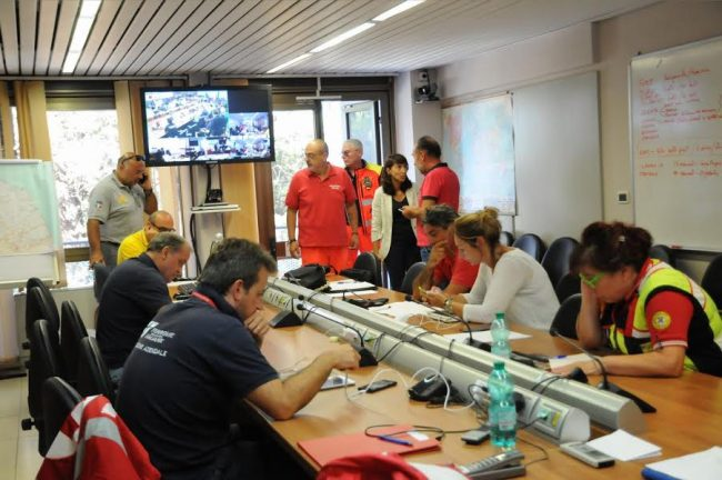 La sala operativa della protezione civile regionale