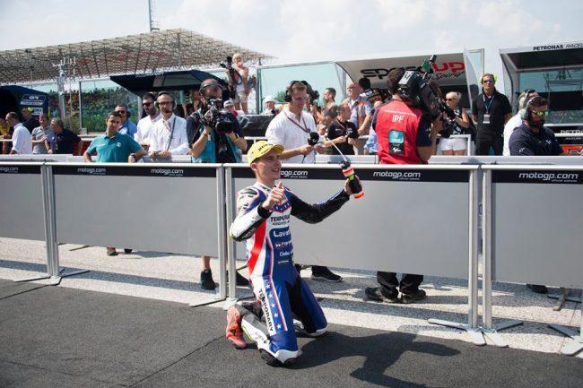 La gioia di Lorenzo Baldassarri a fine gara