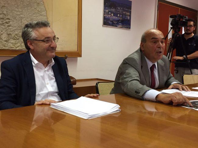 Angelo Sciapichetti, assessore regionale all'Ambiente, e Claudio Netti, presidente del Consorzio di bonifica delle Marche