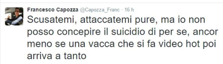 Il tweet di Francesco Capozza ha suscitato sdegno in tutta Italia