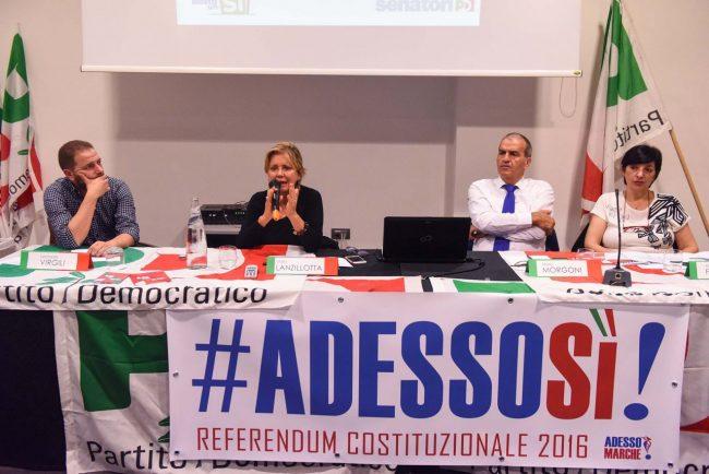 L'assemblea a Civitanova: da sinistra Leonardo Virgili, l'onorevole Lanzillotta, il senatore Mario Morgoni e Mirella Franco