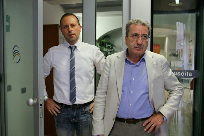 Il direttore della filiale Fabio Properzi (da sinistra) e il direttore generale Ferdinando Cavallini