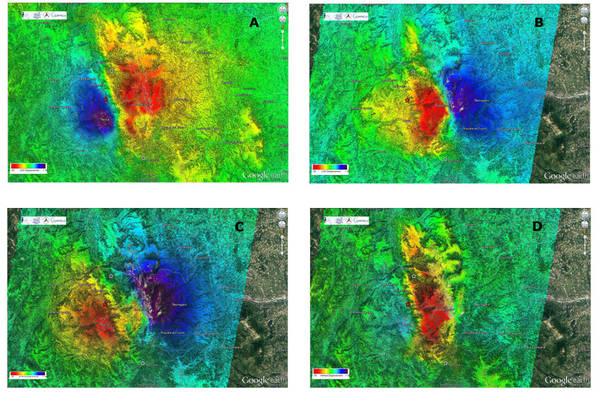 Le mappa della deformazione del suolo provocata dal terremoto del 30 ottobre, basate stu dei satelliti Cosmo SkyMed e Sentinel 1 (fonte: ASI, IREA-CNR)