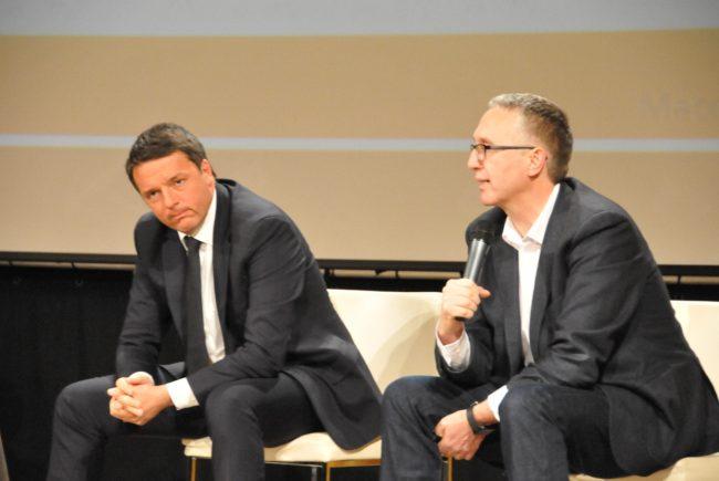 Matteo Renzi con il governatore Luca Ceriscioli a Macerata