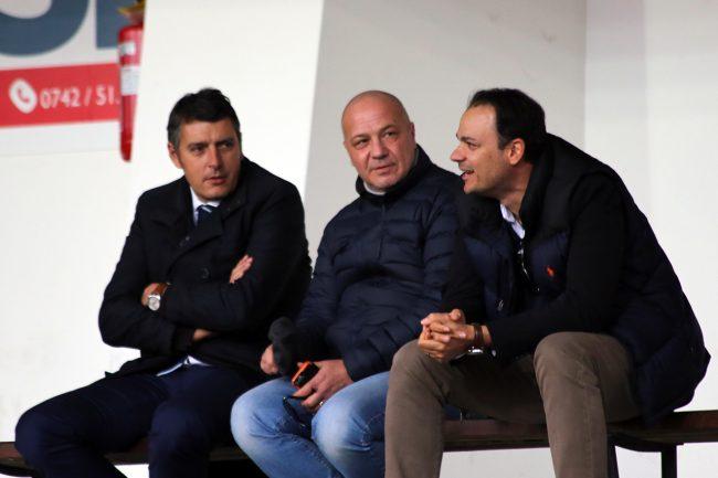 Filippo Spalletta in compagnia dei suoi stretti collaboratori all'Helvia Recina a seguire Maceratese-Casertana