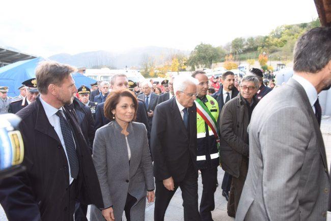 L'arrivo del presidente della Repubblica alle 16,20 a Camerino