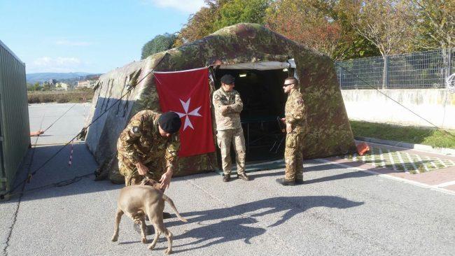 La tenda del Corpo ausiliario dell'ordine di Malta a Tolentino