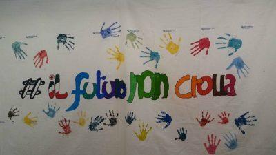 Il disegno fatto dai bambini di Sarnano questa mattina durante le attività organizzate per loro