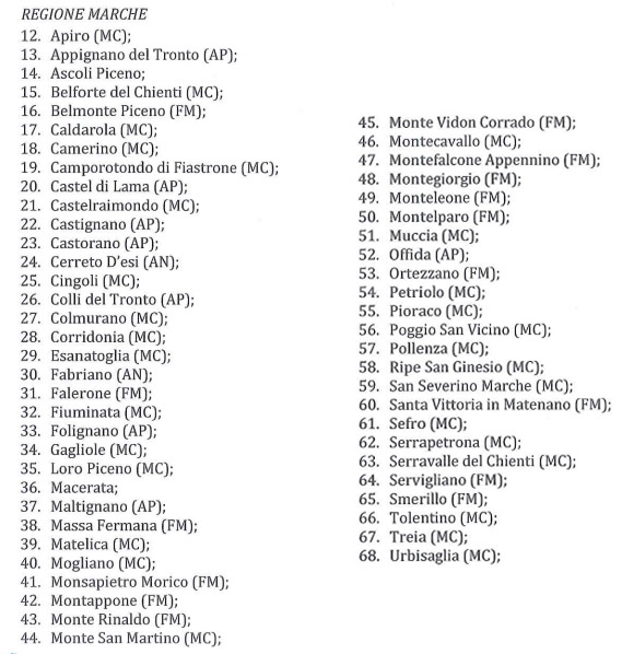 La lista dei comuni delle Marche inseriti nel cratere