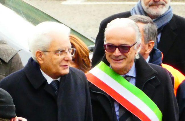 Mattarella con il sindaco Rinaldi
