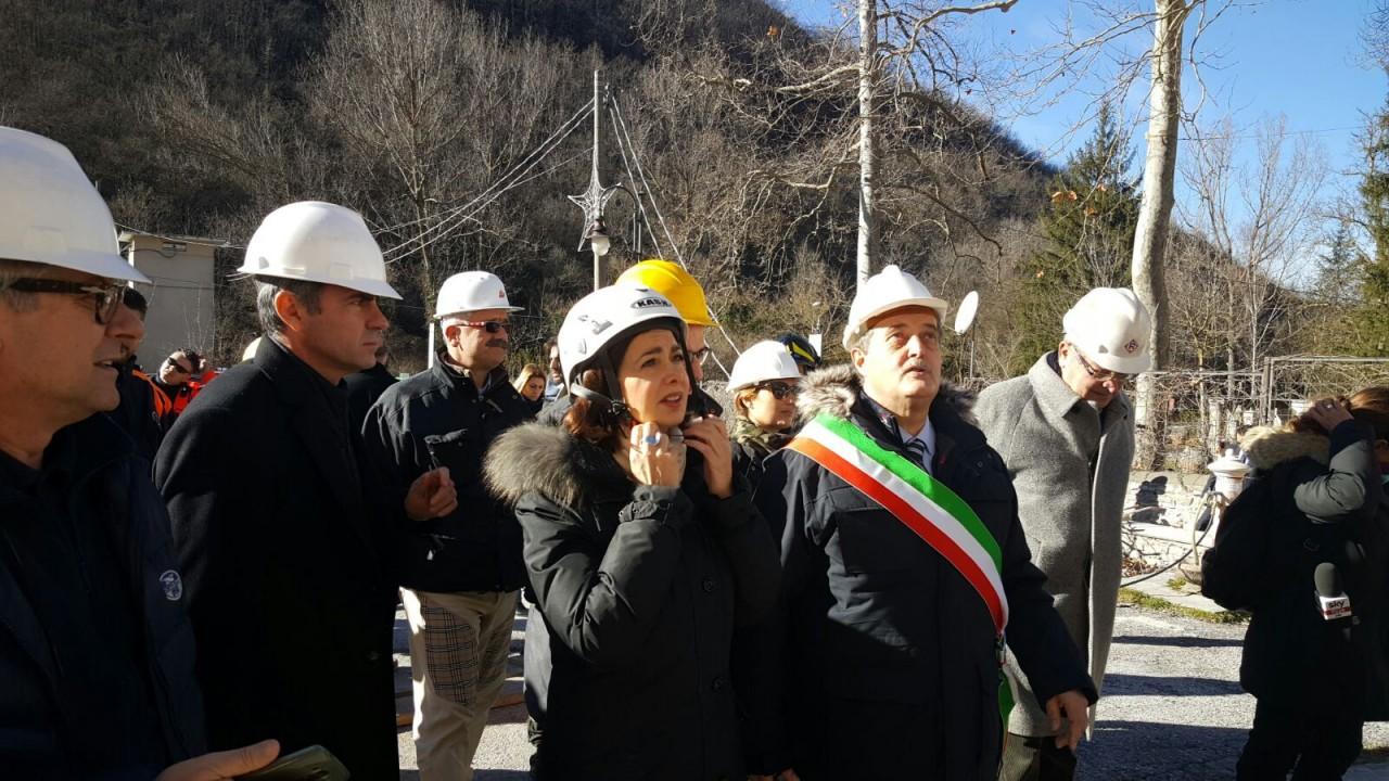 Terremoto - Laura Boldrini in visita a Castelsantangelo sul Nera