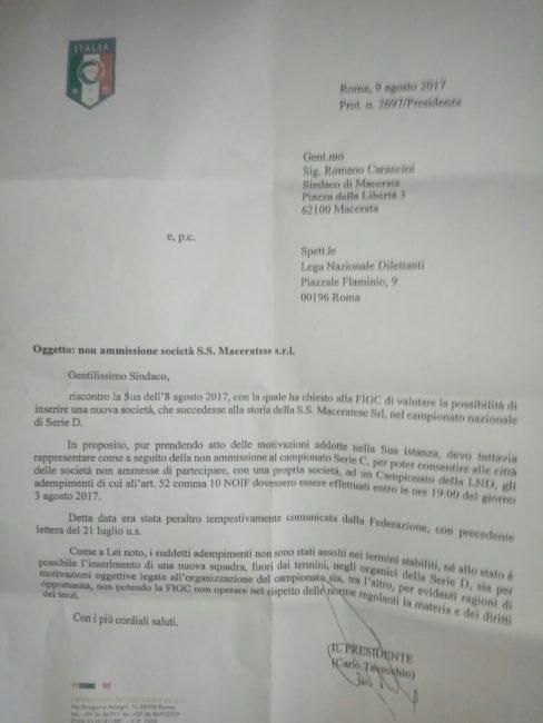 tavecchio-maceratese-lettera