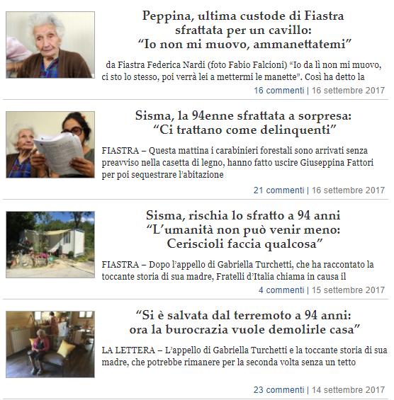 Lista-articoli-peppina-giuseppina-fattori-anziana-sfrattata-sfratto-fiastra-casetta