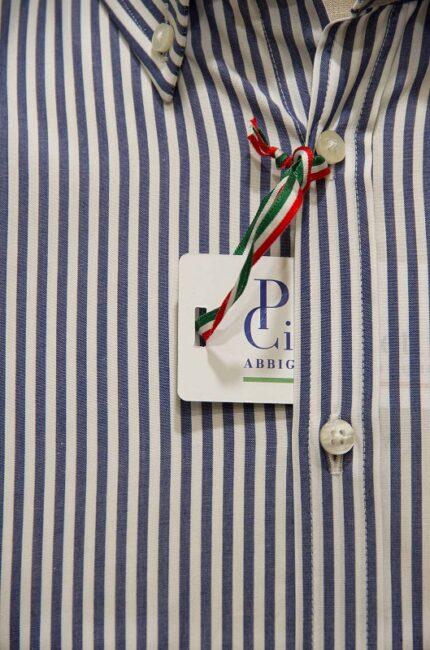 Particolare camicia a righe Pietro Cicconetti