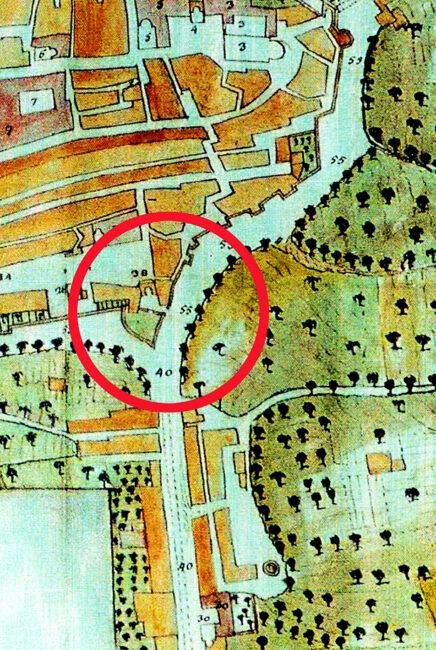 MAPPA-COTOLONI-1805-NEL-CERCHIO-ROSSO-LE-FORTIFICAZIONI-DI-PORTA-MERCATO-DA-DEMOLIRE-E-LAREA-DA-RIQUALIFICARE-436x650